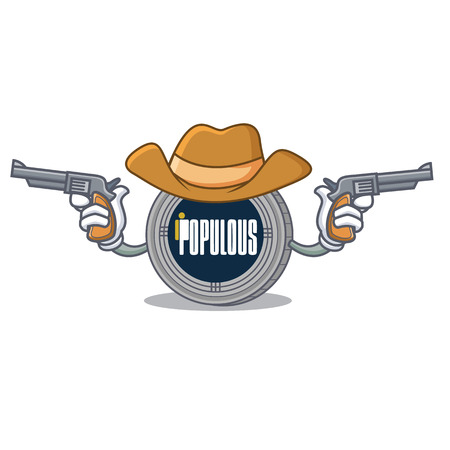 Cowboy populous coin character cartoon vector illustration Illustration