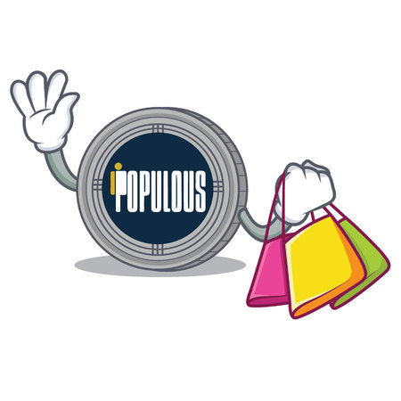 Shopping populous coin character cartoon vector illustration