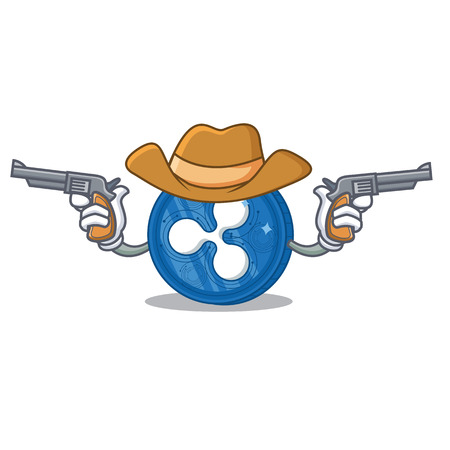 Cowboy Ripple coin character cartoon. Illustration