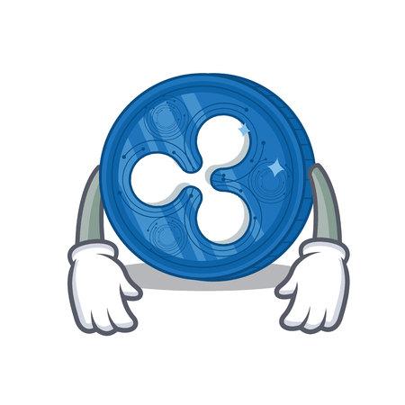 Tired Ripple coin character cartoon vector illustration
