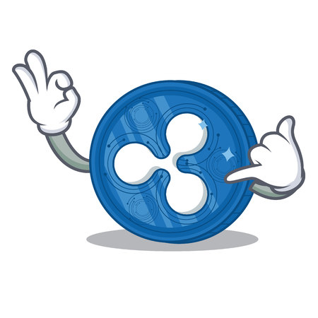 Call me Ripple coin character cartoon vector illustration.