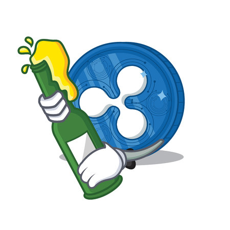 With beer Ripple coin character cartoon Illustration