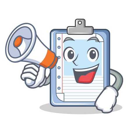 With megaphone clipboard character cartoon style illustration. Illustration