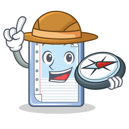Explorer clipboard character cartoon style vector illustration
