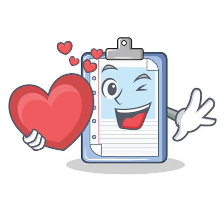 With heart clipboard character cartoon style vector illustration