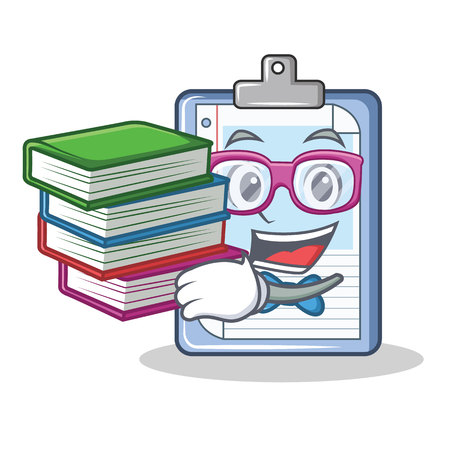 Student with clock clipboard character cartoon style vector illustration