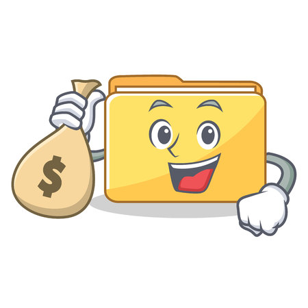 With money bag folder character cartoon style vector illustration
