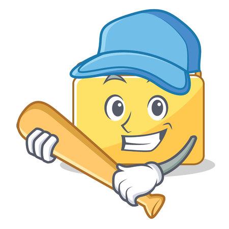 Playing baseball folder character cartoon style vector illustration Illustration