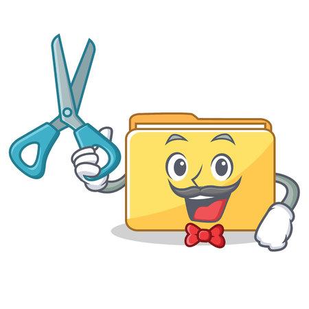 Barber folder character cartoon style vector illustration
