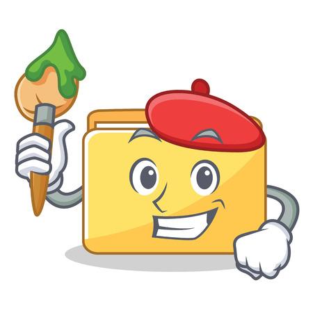 Artist folder character cartoon style illustration.