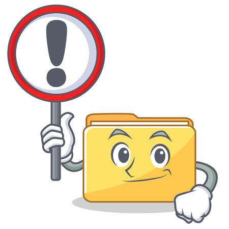 With sign folder character cartoon style vector illustration Illustration