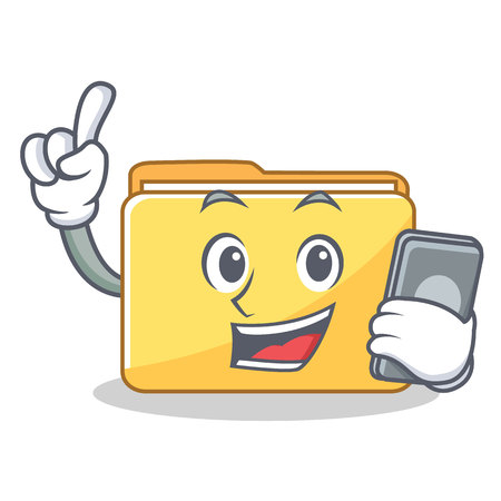 With phone folder character cartoon style vector illustration