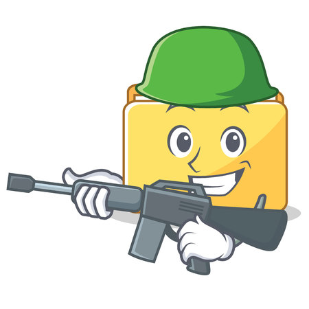 Army folder character cartoon style vector illustration