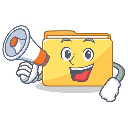 With megaphone folder character cartoon style vector illustration