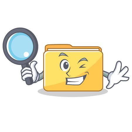 Detective folder character cartoon style vector illustration