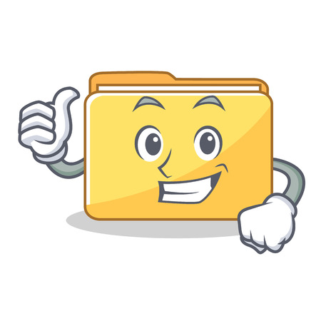 Thumbs up folder character cartoon style vector illustration
