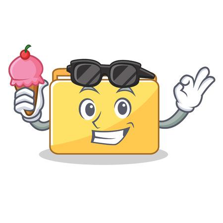 With ice cream folder character cartoon style vector illustration Illustration