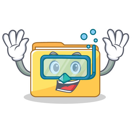 Diving folder character cartoon style vector illustration