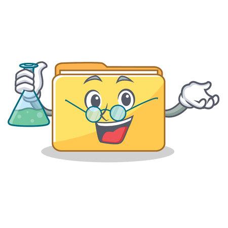 Professor folder character cartoon style vector illustration