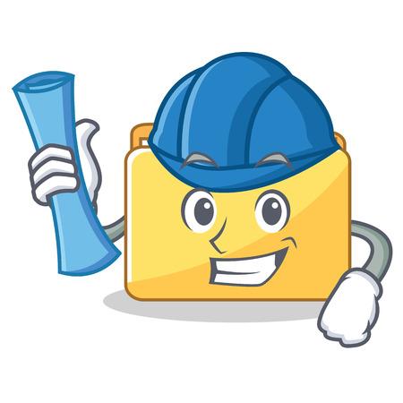 Architect folder character cartoon style vector illustration Illustration