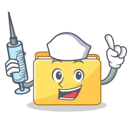 Nurse folder character cartoon style vector illustration