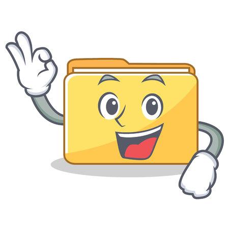 Okay folder character cartoon style vector illustration Illustration