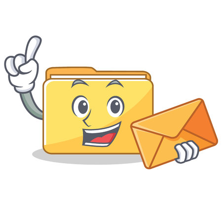 With envelope folder character cartoon style illustration.