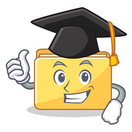 Graduation folder character cartoon style vector illustration