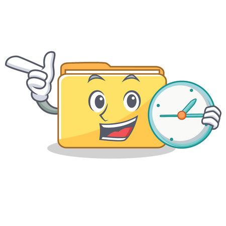 With clock folder character cartoon style vector illustration Illustration