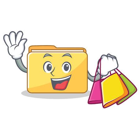 Shopping folder character cartoon style vector illustration