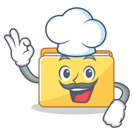 Chef folder character cartoon style vector illustration