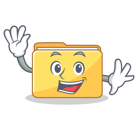 Waving folder character cartoon style illustration.
