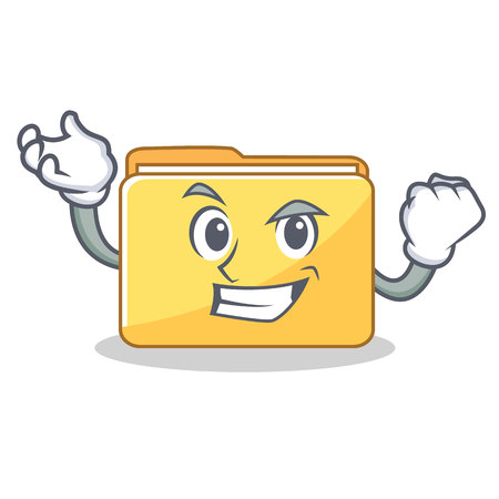 Successful folder character cartoon style illustration.
