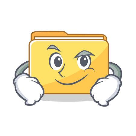 Smirking folder character cartoon style vector illustration