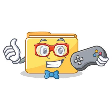 Gamer folder character cartoon style vector illustration