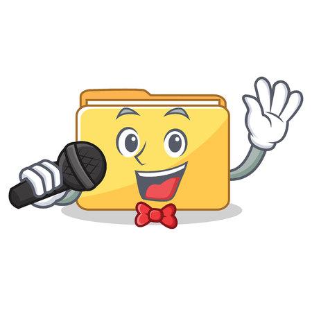 Singing folder character cartoon style vector illustration