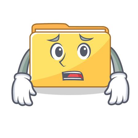 Afraid folder character cartoon style vector illustration
