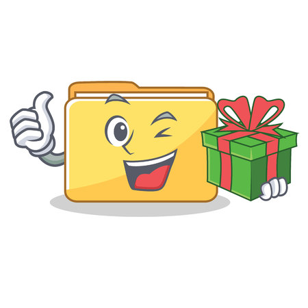 With gift folder character cartoon style vector illustration