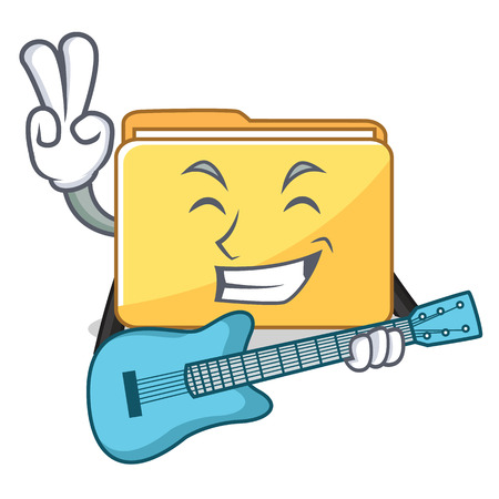 With guitar folder character cartoon style vector illustration