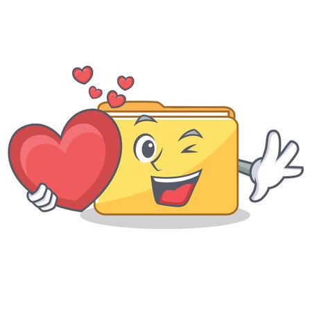 With heart folder character cartoon style vector illustration Illustration