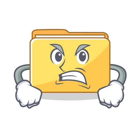 Angry folder character cartoon style vector illustration