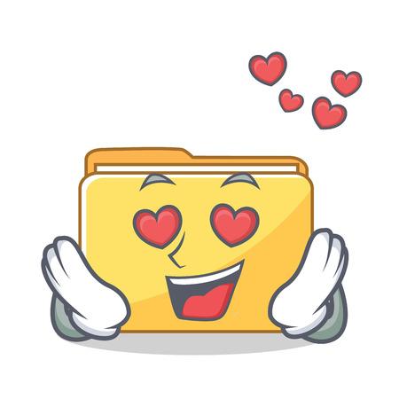 In love folder character cartoon style vector illustration