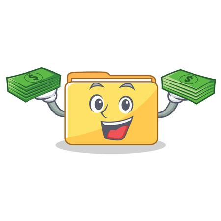 With money folder character cartoon style vector illustration