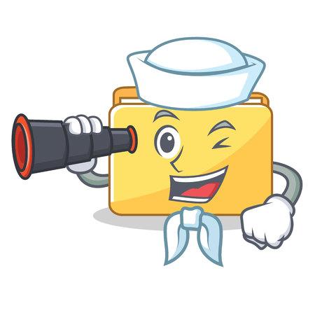 Sailor with binocular folder character cartoon style vector illustration