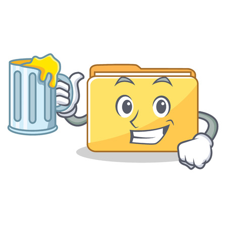 With juice folder character cartoon style vector illustration