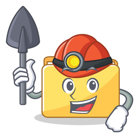 Miner folder character cartoon style vector illustration Illustration