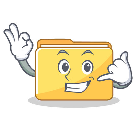 Call me folder character cartoon style vector illustration