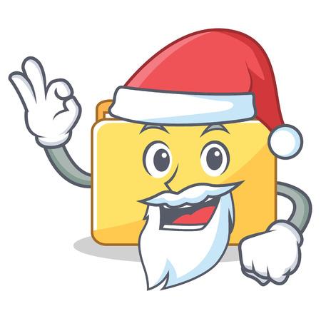 Santa folder character cartoon style vector illustration