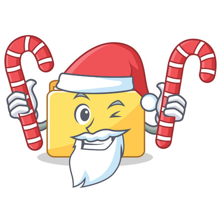Santa with candy folder character cartoon style vector illustration