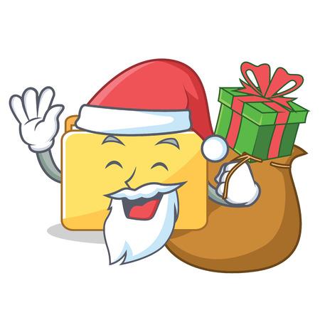 Santa with gift folder character cartoon style vector illustration